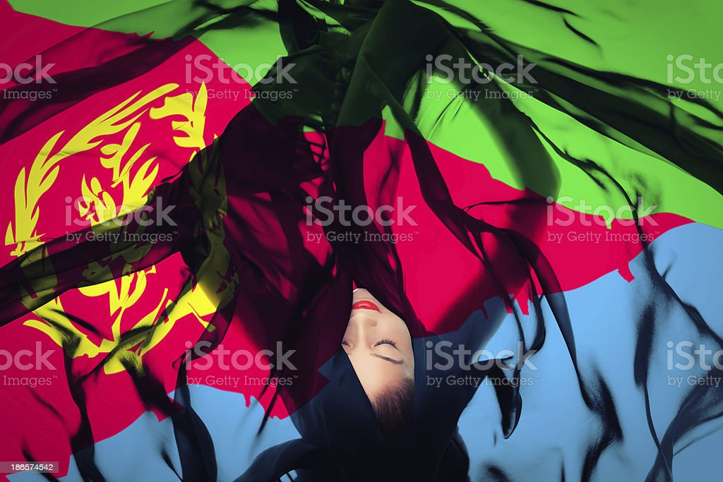Young girl with Eritrean Flag stock photo