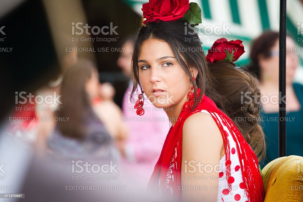 Young girl with flamenco dress during the April Fair royalty-free stock photo