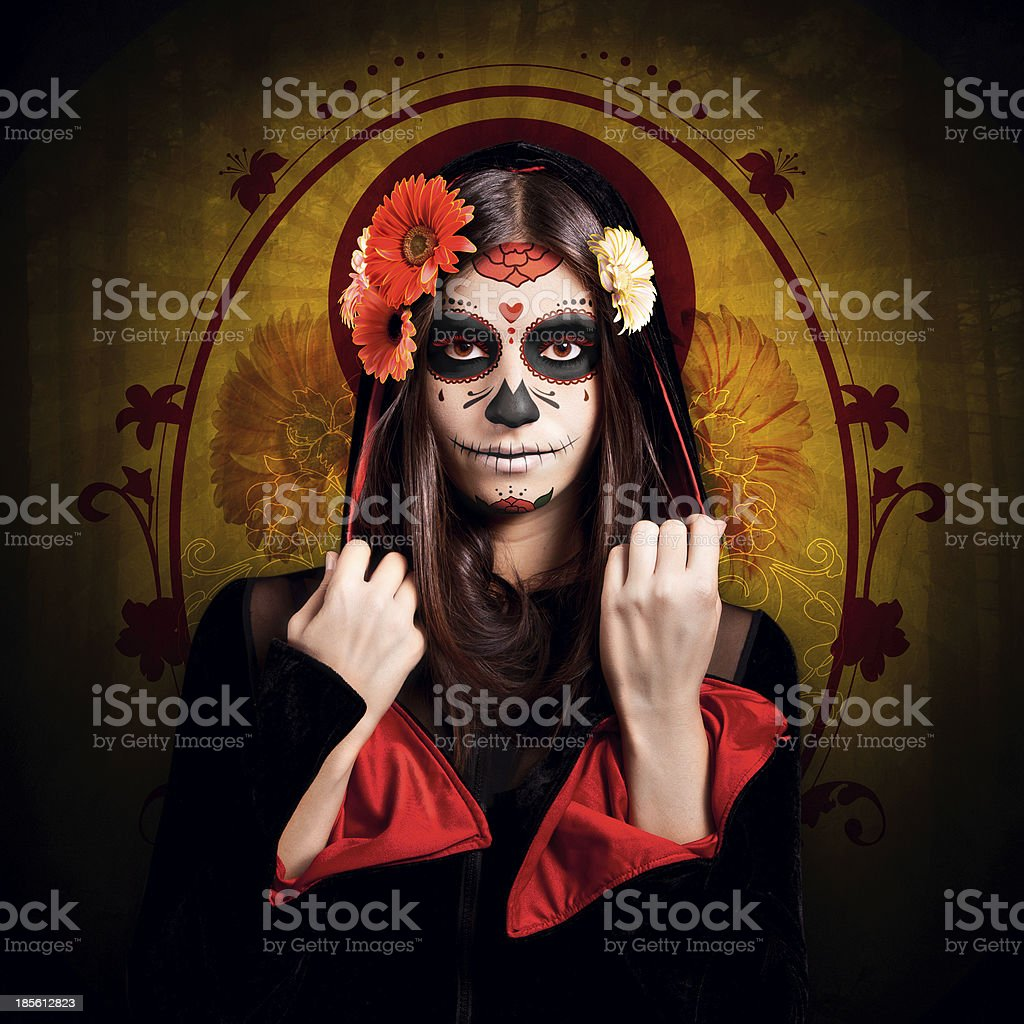 Young girl with halloween make-up stock photo