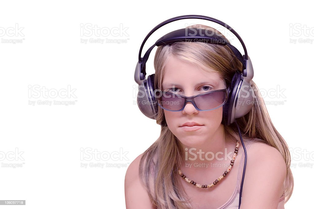 Young girl with headphones royalty-free stock photo