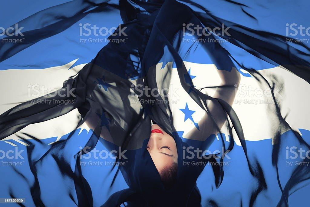 Young girl with Honduran Flag stock photo