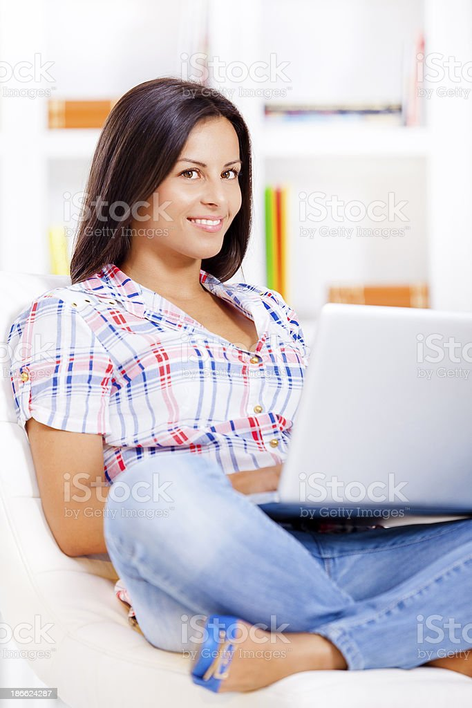 Young girl with laptop royalty-free stock photo