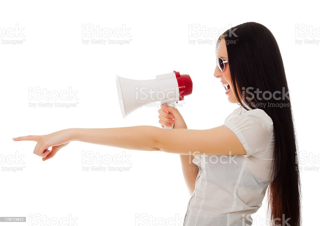 Young girl with megaphone royalty-free stock photo