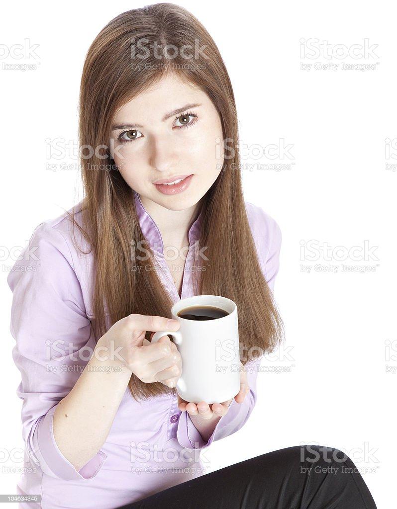 Young girl with mug of coffee royalty-free stock photo