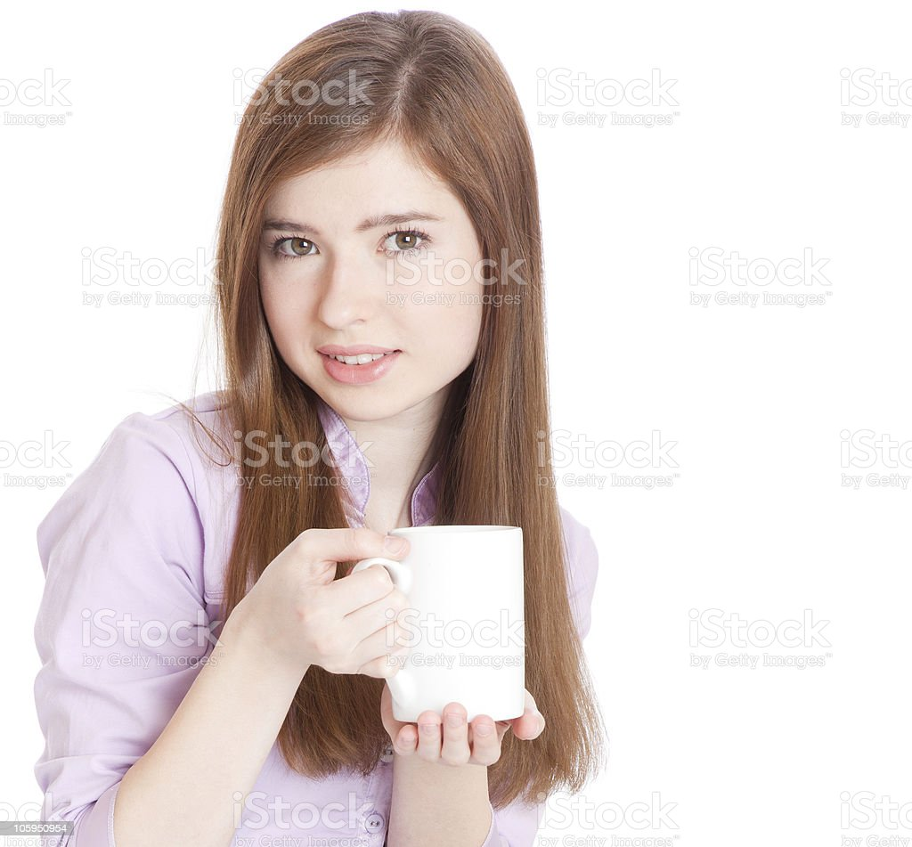 Young girl with mug of coffee royalty-free stock photo