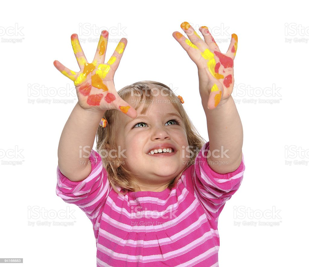 Young girl with paint on her hands royalty-free stock photo