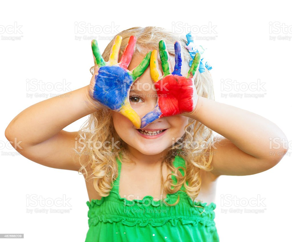 Young Girl With Painted Hands Isolated on White stock photo