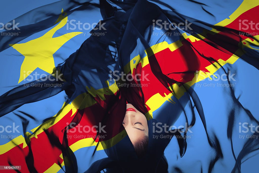 Young girl with Republic of the  Congolese Flag stock photo