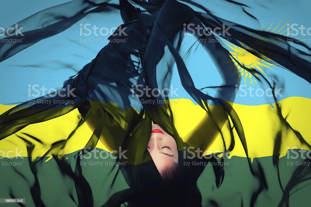 Young girl with Rwandan Flag stock photo