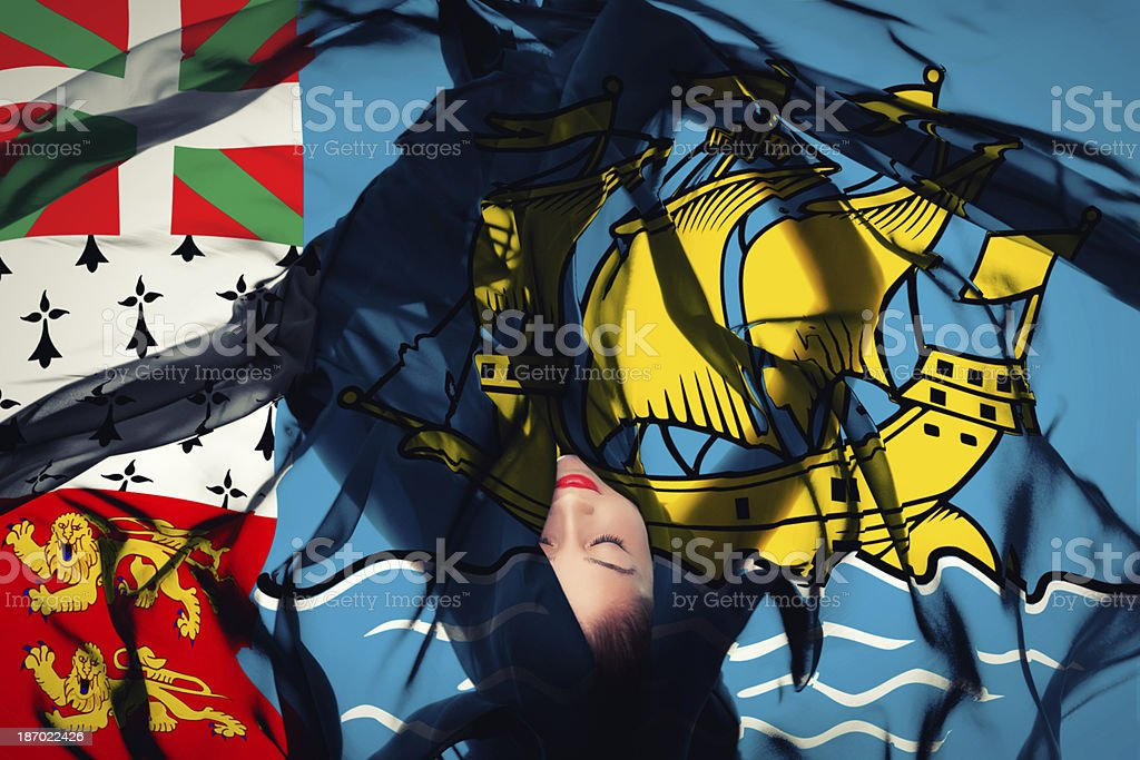Young girl with Saint-Pierre and Miquelon flag stock photo