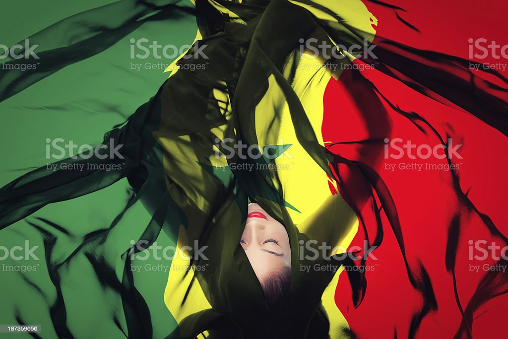 Young girl with Senegalese Flag stock photo