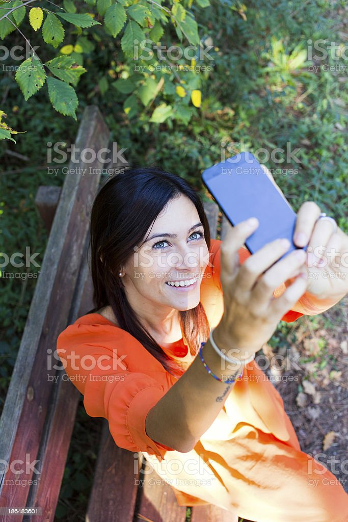 young girl with smartphone royalty-free stock photo