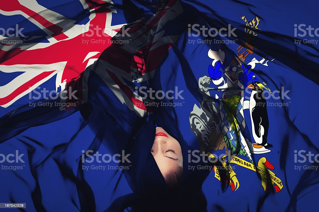 Young girl with South Sandwich Islands flag stock photo