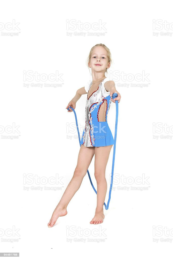 young girl with sport rope posing over white royalty-free stock photo
