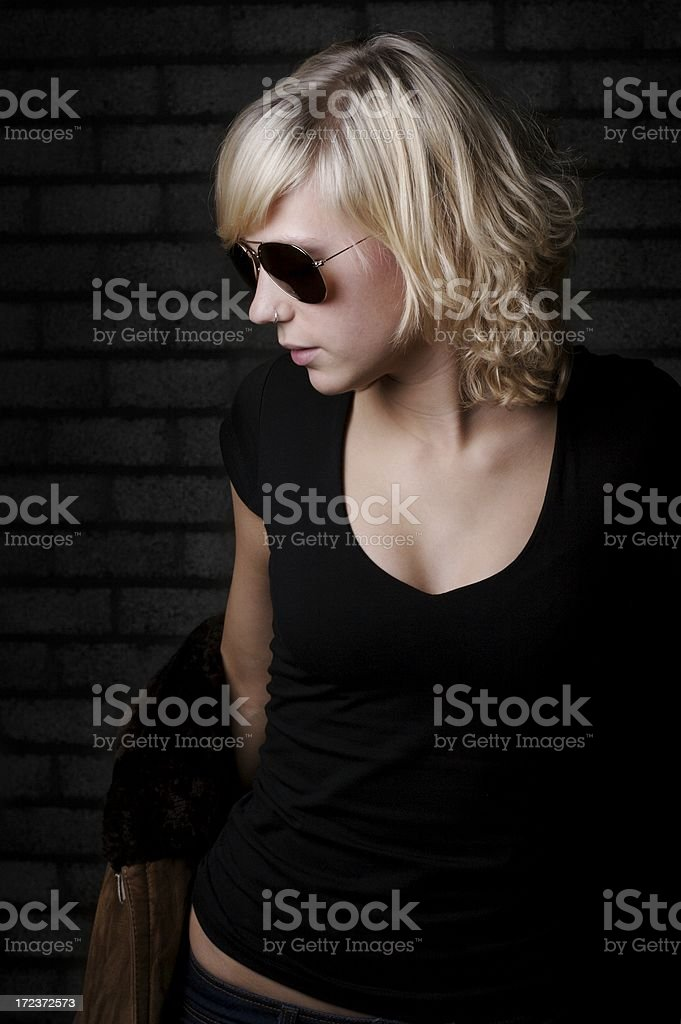 young girl with sunglasses stock photo