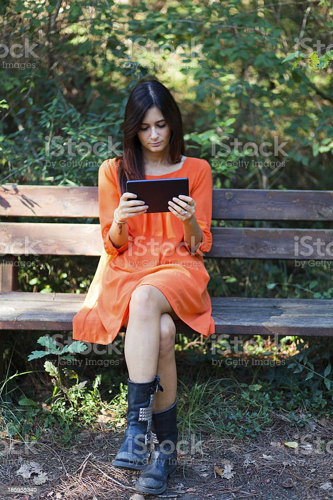 young girl with tablet royalty-free stock photo