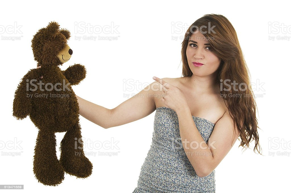 Young girl with teddy bear stock photo
