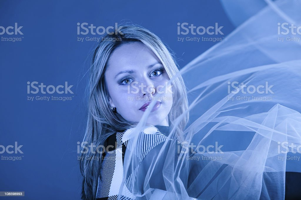 Young girl with the transparent shawl stock photo