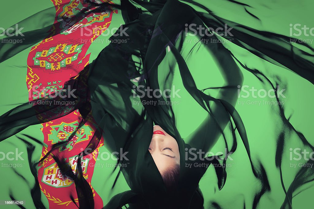 Young girl with Turkmen Flag stock photo