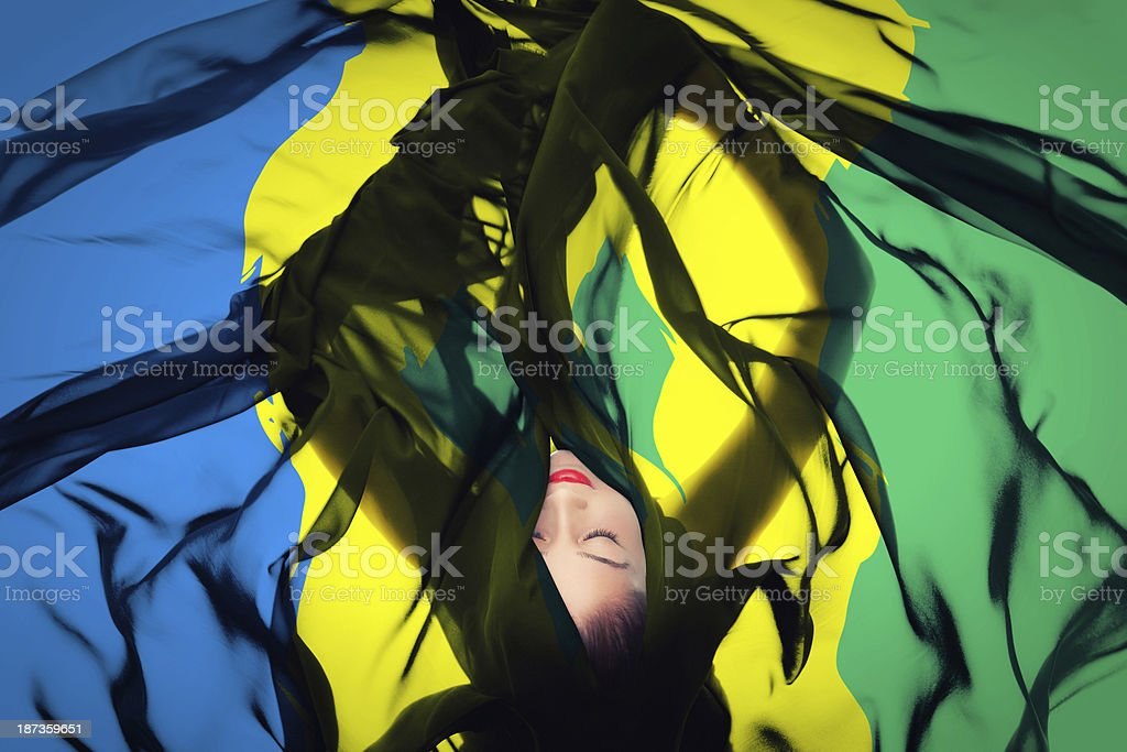Young girl with Vincentian Flag stock photo