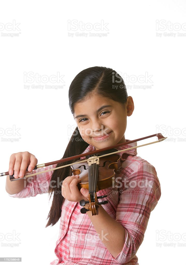 young girl with violin royalty-free stock photo