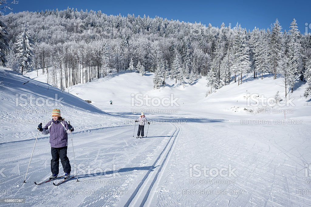 Young Girls Cross-Country Skiing in Slovenia stock photo