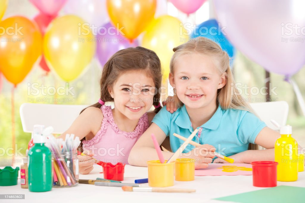 Young Girls doing Arts And Crafts stock photo
