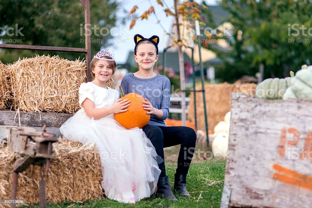 Young girls dressed in halloween costumes holding a large pumpkin stock photo
