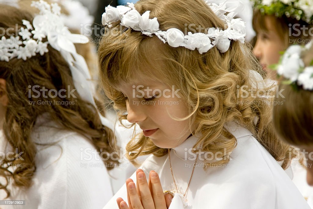 Young girls first holy communion royalty-free stock photo