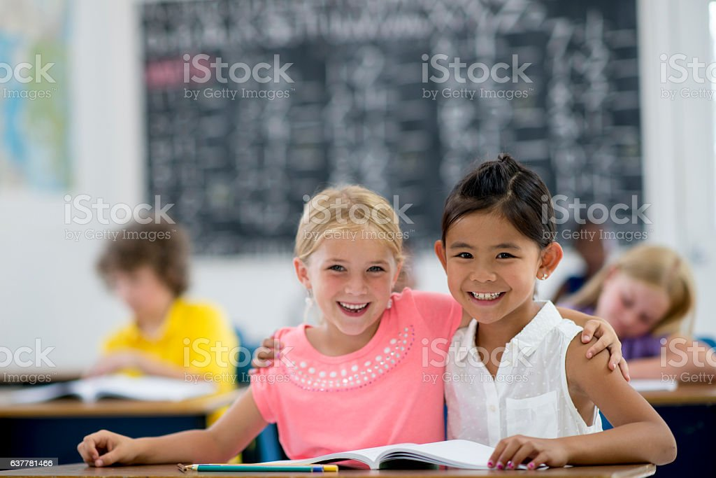 Young Girls in Elementary School stock photo