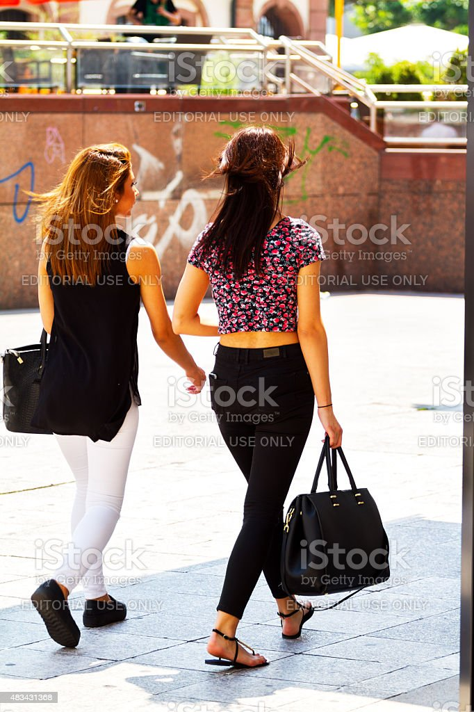 Young girls in Frankfurt at summertime stock photo