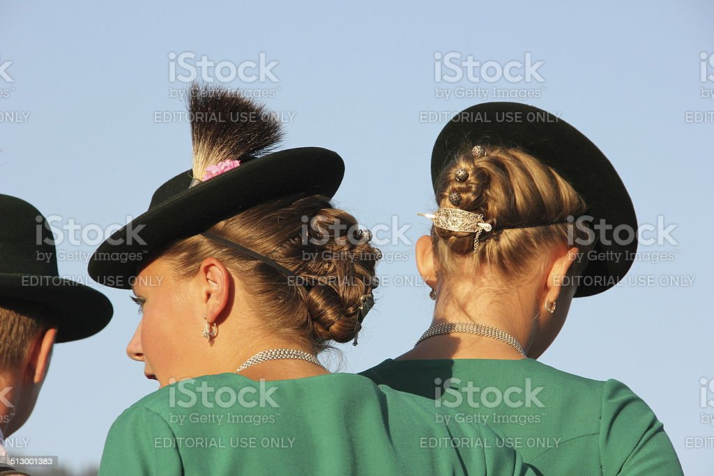 Young girls in traditional costume stock photo