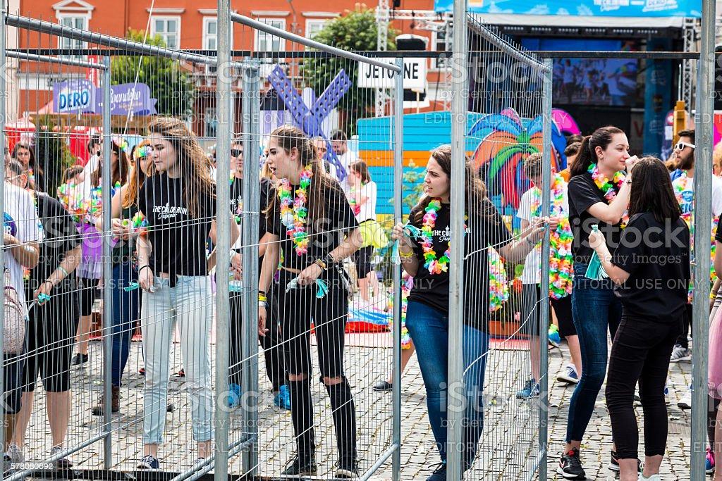 Young girls preparing for Color Run in Cluj-Napoca, Romania stock photo