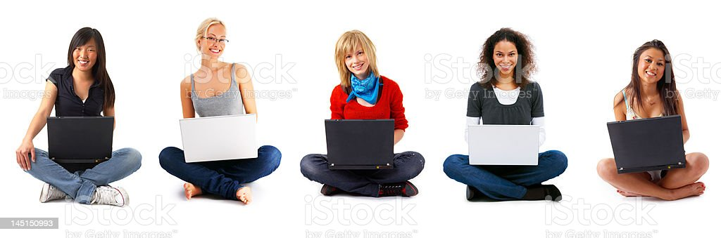 Young Girls Sitting With Laptop royalty-free stock photo