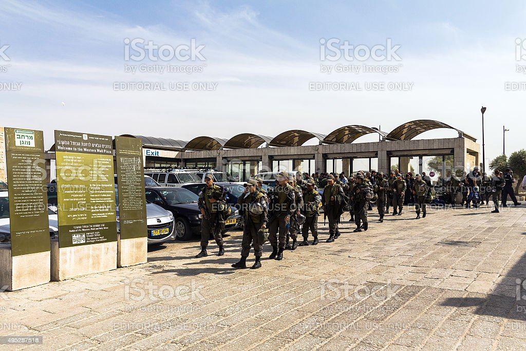 Young girls soldiers IDF came to  Western Wall . Jerusalem stock photo