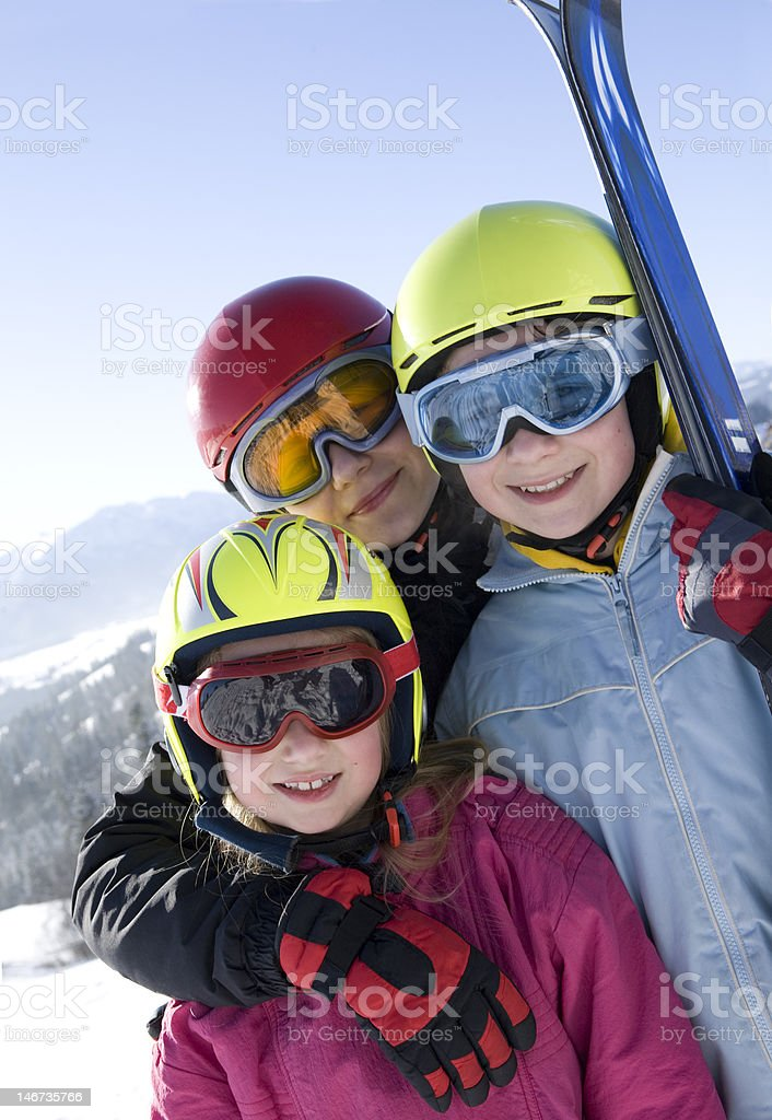 Young girls with ski royalty-free stock photo