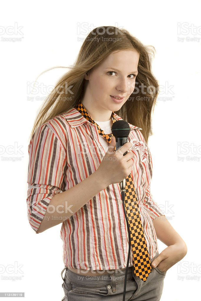 Young girl-singer royalty-free stock photo