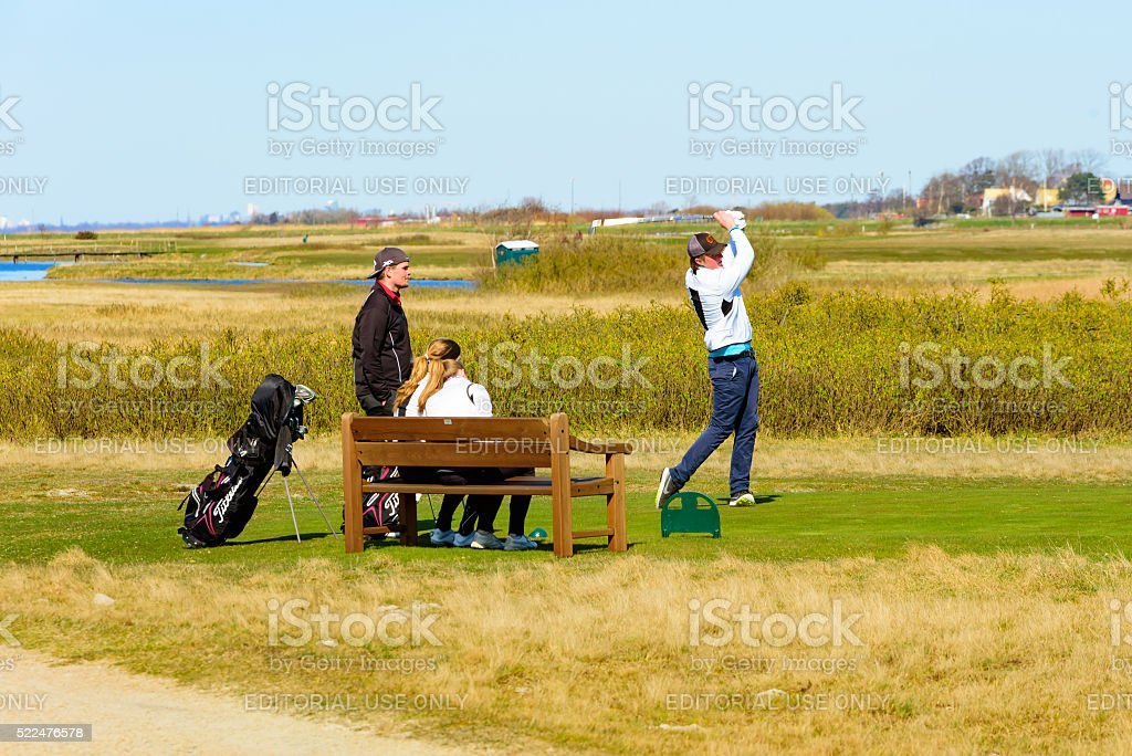 Young golfers stock photo