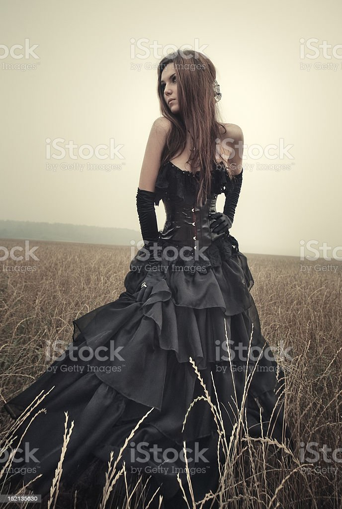 Young goth woman stock photo