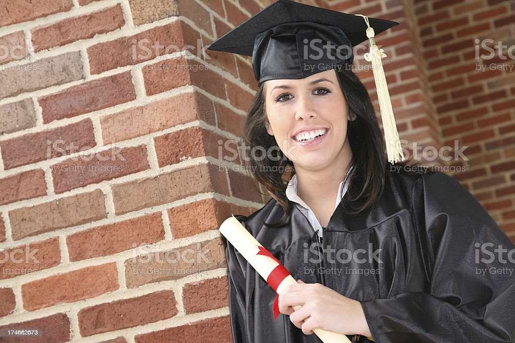 Young Graduate at Graduation, with copy space royalty-free stock photo