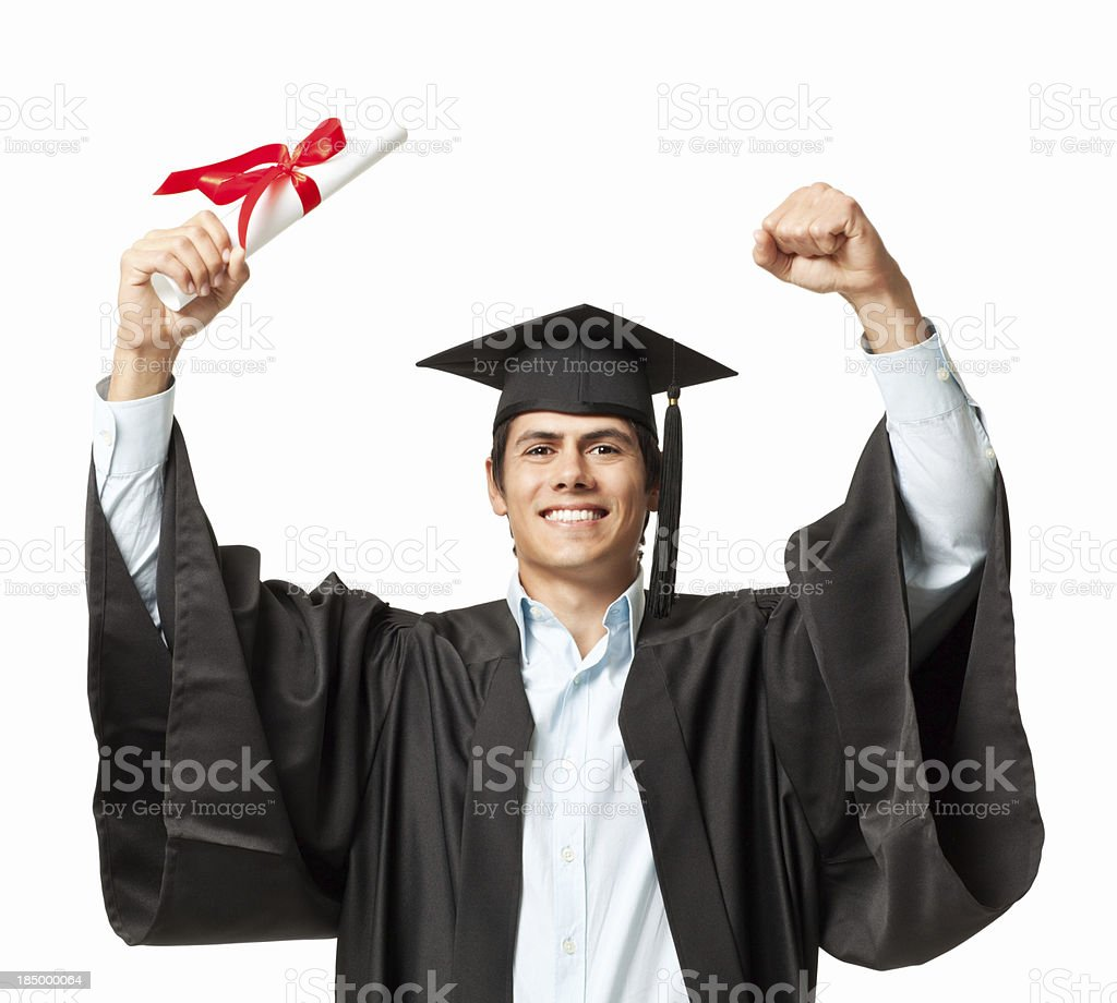 Young Graduate Cheering royalty-free stock photo