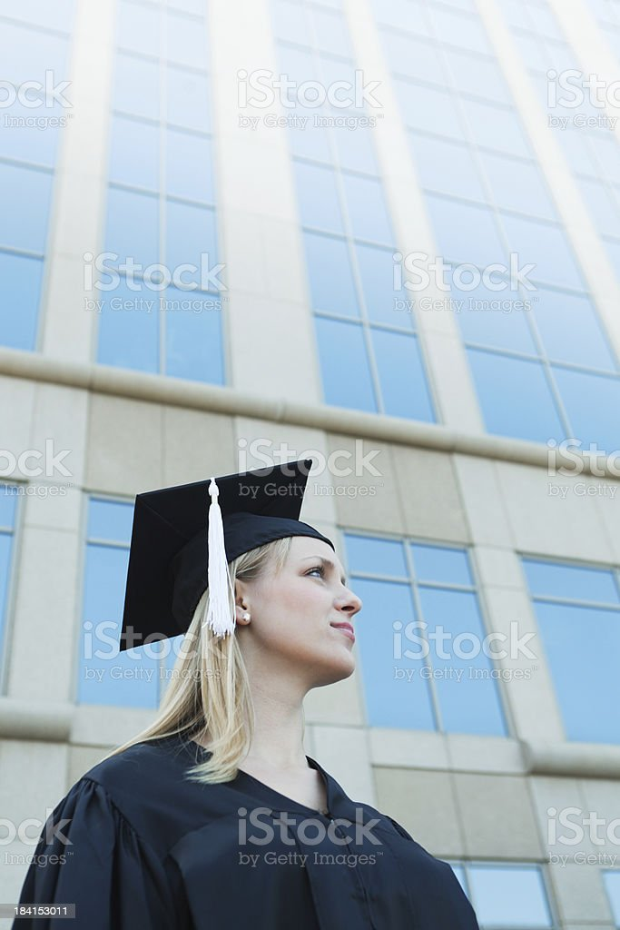 Young Graduating Student Looking into the Life and Career Future royalty-free stock photo