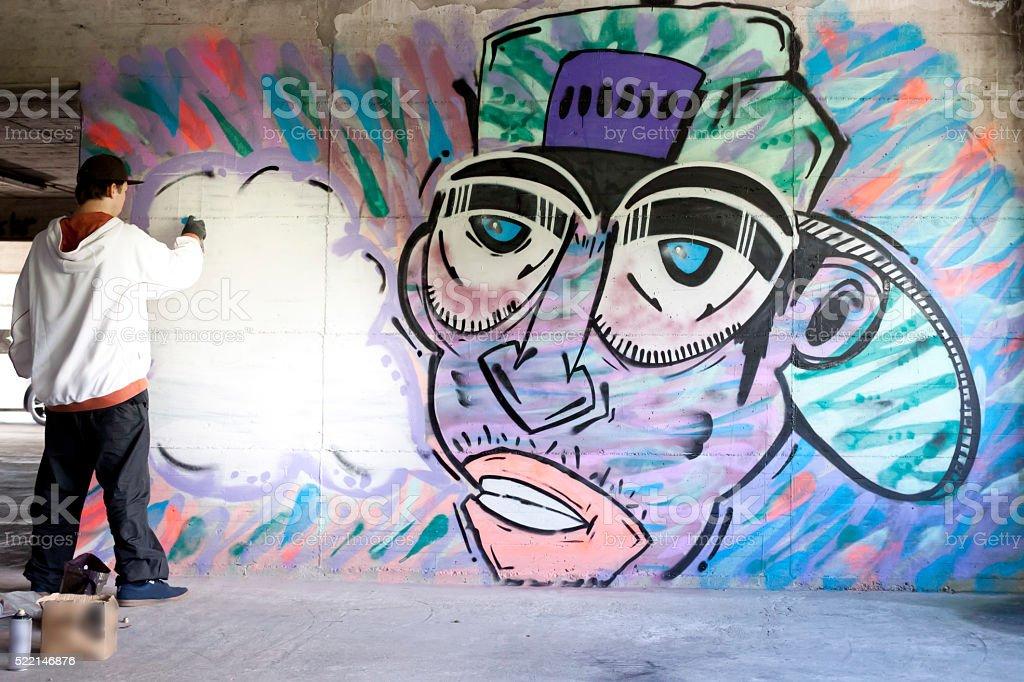 Young graffiti artist stock photo