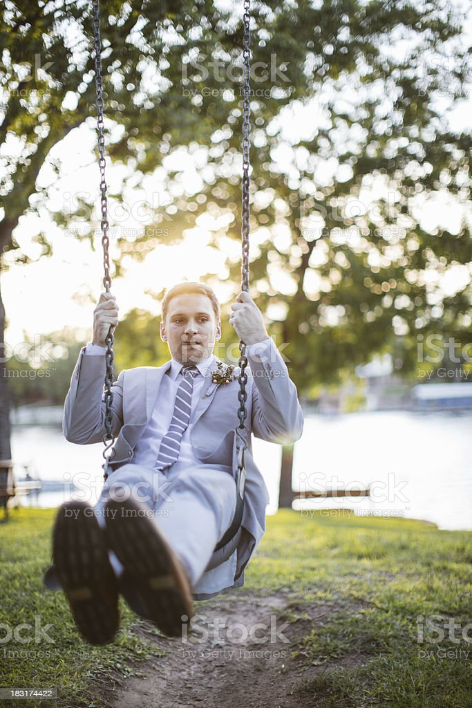 Young Groom on a Swing royalty-free stock photo
