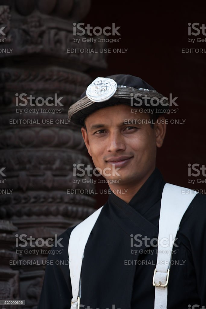 Young guard at the old palace of Kathmandu Durbar Square stock photo