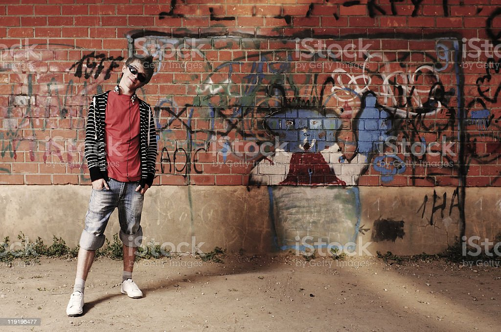 Young Guy  against Graffiti Wall royalty-free stock photo