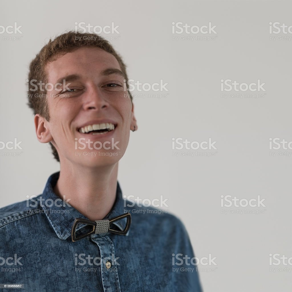 Young guy at party stock photo
