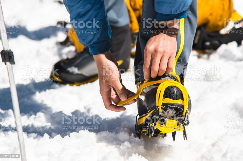 A young guy hiker dresses climbing Crampons over mountaineering shoes For walking through Glacier stock photo