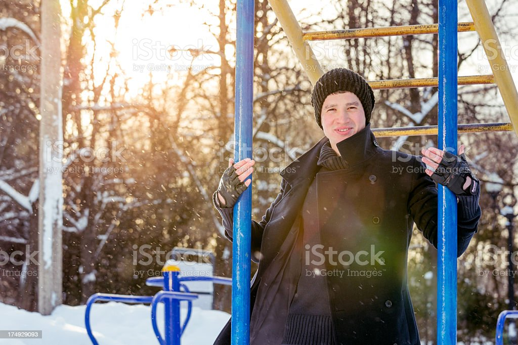 Young guy in black coat royalty-free stock photo