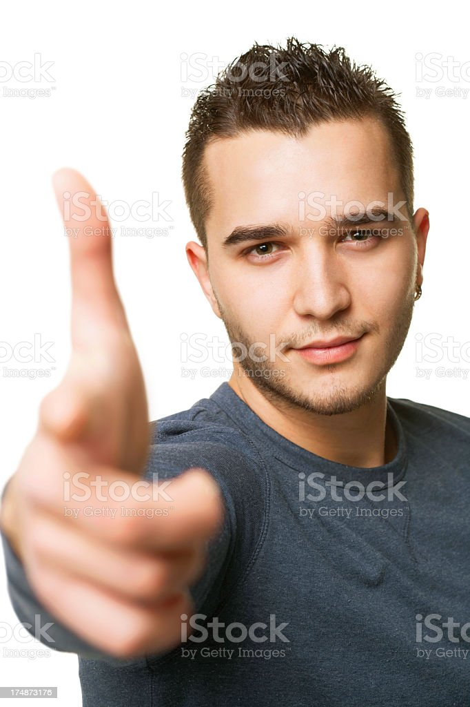 young guy pointing forward royalty-free stock photo